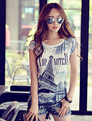Pink Doll®Women's Round Neck Casual/Print Loose T-shirt