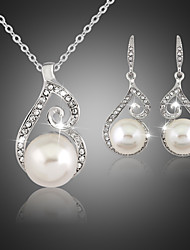 Lucky Doll Women's All Matching Silver Plated Man Made Pearl Zirconia Necklace & Earrings Jewelry Sets