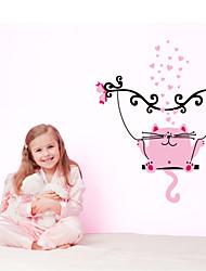 estilo decalques adesivos de parede parede de gato-de-rosa adesivos de parede de pvc