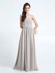 Lanting Floor-length Chiffon Bridesmaid Dress - Silver Plus Sizes / Petite Sheath/Column Sweetheart