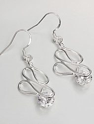 New Design Wedding Dress 925 Silver Plated Drop Earrings for Lady with Zircon Fashion Fine Accessories
