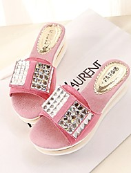 Women's Shoes Leather Wedge Heel Wedges/Round Toe Sandals Casual Pink/Red