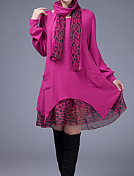 Women's Casual / Plus Sizes Patchwork Loose Dress , Round Neck Knee-length Knitwear