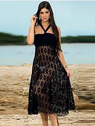 Women's Sexy Beach Lace Inelastic Sleeveless Knee-length Dress (Lace)