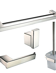 Polish Stainless Steel Bath Hardware Set with Toilet Brush Holder Robe Hook Toilet Paper Holder and Double Towel Bar