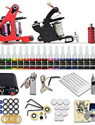 Anfänger Tattoo Starter-Kits 2 Maschinen 20 Tintensets
