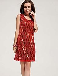 Women's Mesh Geometric Sequined Knee Length Casual Or Mini Evening Dress