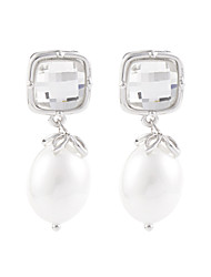 Classic Square Cubic Stone Egg Oval Shell Pearl Dangle Earrings