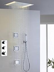 Смеситель для душа - Современный - Светодиодная лампа / Термостатический / Дождевая лейка / Ручная лейка / Ручная лейка входит в комплект