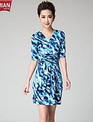 YUEMIAN™Women's Fold Belt Design Code Fake Slim Sleeve Dress