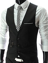 Men's Sleeveless Vest , Cotton Casual/Formal Pure