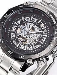 WINNER® Men's Auto-Mechanical Fashion Skeleton Silver Steel Band Wrist Watch Cool Watch Unique Watch