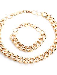 Vilam® Vilam® 55~60cm,Chunky Hip Hop Aluminium Men's Figaro Chain Torque Choker Jewelry Set Big Extention Chain