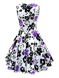 Women's Vintage 50s Slim Low Cut Printing Sleeveless Swing Party Dress