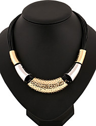 Female short style retro European and American exaggerated black rope Fashion Necklace