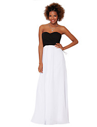 Formal Evening Dress - White Sheath/Column Strapless Floor-length Chiffon