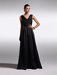 TS Couture Prom Formal Evening Dress - Open Back A-line V-neck Floor-length Satin with Criss Cross