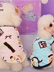 Katzen / Hunde Mäntel / T-shirt / Pyjamas Blau / Rosa Hundekleidung Winter Karton / Schleife Hochzeit / Cosplay