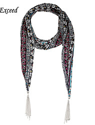 D Exceed Scarf Necklaces Multicolor Retro Flora Print Chiffon Long Tassel Winter Jewelry Scarves For Women's Scarfs