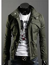 Повседневный/Деловая - MEN - Пальто и жакеты ( Смешанная хлопковая ткань С высоким горлом - Длинный рукав