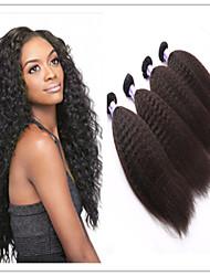 """3pcs / lot 8 """"-34"""" brasilianische reine Haarfarbe natürliche schwarze verworrene gerade Menschenhaareinschlagfaden nicht verarbeiteten"""