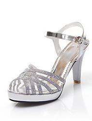 Women's Shoes Leather Stiletto Heel Peep Toe Sandals Dress / Casual Silver / Gold