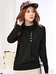 Women's Casual Micro-elastic Long Sleeve Regular Blouse (Cotton Blends)