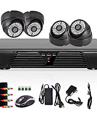 4ch volles D1 DVR Bewegungserkennung CCTV-Home-Security-Kit 800tvl Nachtsicht Dome-Kamera
