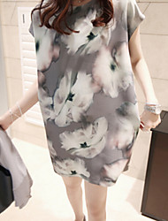 Women's Elegant Ink Print Loose Dress Plus Size
