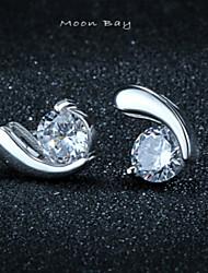 S925 boucles d'oreilles en argent la mode tout-match de boucles d'oreilles boucles d'oreilles simple cadeau Antiallergiques nouvelle lune