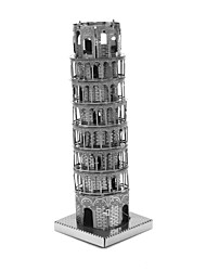 Creative 3D Laser Cute Models Metallic the Leaning Tower of Pisa Nano Puzzle - Silver