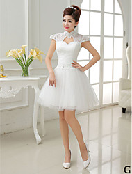 Short / Mini Tulle Bridesmaid Dress A-line / Princess High Neck / Jewel / Scoop / V-neck with