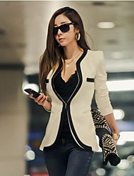 Women's Casual/Party Round Long Sleeve Blazers & Sport Coats (Cotton)