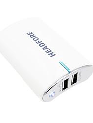 banque de puissance headfore de 8000mAh batterie externe pour Apple, Samsung téléphones intelligents et tout périphérique USB -blanc