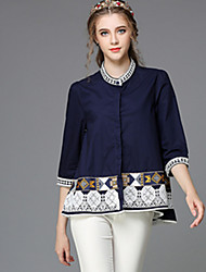 Women Fashion Autumn Ethnic Embroidery Vintage Patchwork Loose Plus Size 3/4 Sleeve Blouse Shirt Tops