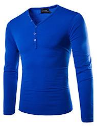 toevallige pure lange mouwen regelmatige t-shirt voor mannen (katoen)
