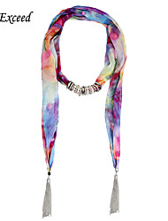 D Exceed Female Models Chiffon Flower Print Scarves Alloy Ring Pendant Necklace Scarf Jewelry with Tassles