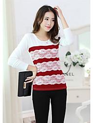 Waboats Women Long Sleeve Lace Stitching Slim Tunic Shirt  (Cotton/Cotton Blends)