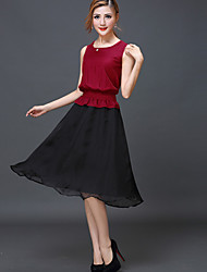 Women's Vintage Party Micro Elastic Sleeveless Knee-length Dress (Others)