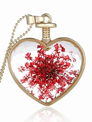 Party/Casual Alloy/Acrylic Dried Flower Heart Shape Pendant Necklace