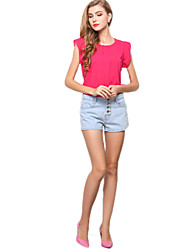 Women's Casual Candy Color Ruffle Sleeve Chiffon Blouse Summer Tops T-shirt Tank Top