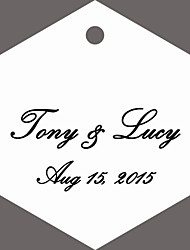 Personalized Hexagon Wedding Favor Tags - White Classic Design (Set of 36)