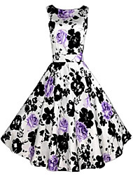 Women's Going out Vintage Skater Dress,Floral Round Neck Midi Sleeveless Purple Polyester All Seasons Mid Rise Micro-elastic Medium