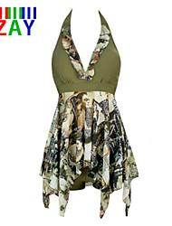 ZAY Women's Push-up Floral Halter One-pieces Beach Bikini Dress