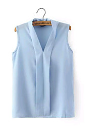 Women's Fashion Summer V Neck Candy Color Sexy/Casual Inelastic Sleeveless Regular Blouse Shirts (Chiffon)