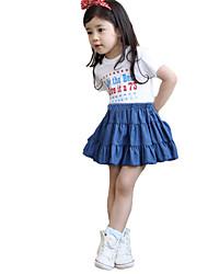 Girl's Summer Thin Layered Skirts Denim Skirt Jeans