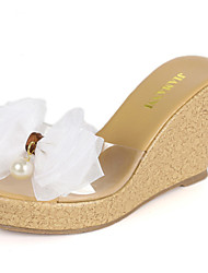 Women's Shoes Silk Wedge Heel Wedges Slippers Casual Pink/White