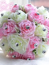 """Fleurs de mariage Rond Roses Bouquets Mariage Polyester / Satin / Perle / Mousse 7.09""""(Env.18cm)"""