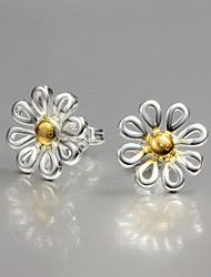 Fashion Flower Design S925 Silver Plated Stud Earrings Classical Design
