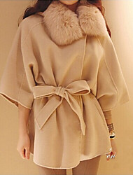 Women's Sexy/Party Thick ½ Length Sleeve Regular Coat (Cotton/Wool Blends)
